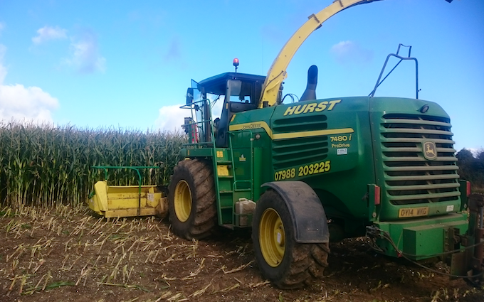 C. a. m hurst & sons with Forage harvester at Lutterworth