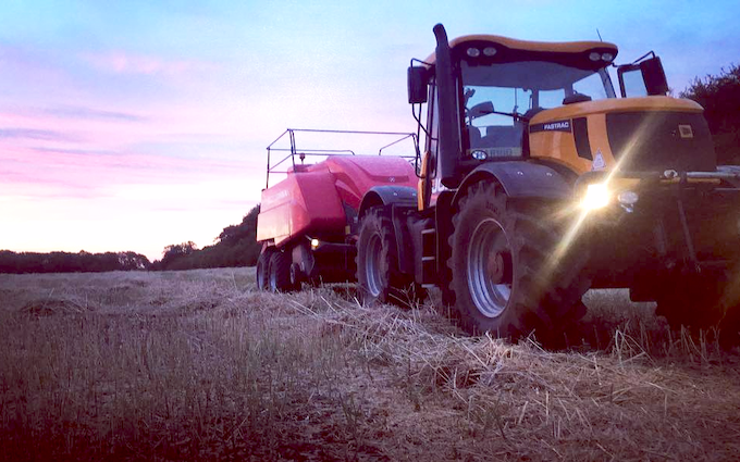 Marriott's contracting  with Large square baler at United Kingdom