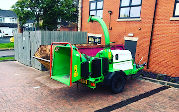 Arbgear hire  with Wood chipper at Cookhill