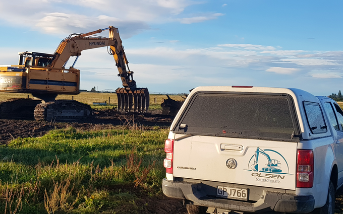 Olsen contracting  with Excavator at Windwhistle