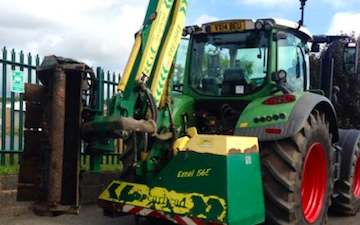 G&t agricultural contractors ltd with Hedge cutter at Cleobury Mortimer