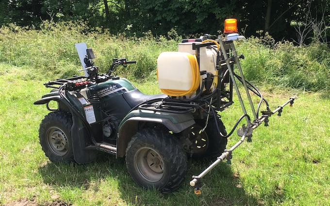 Mead farms with ATV sprayer at United Kingdom