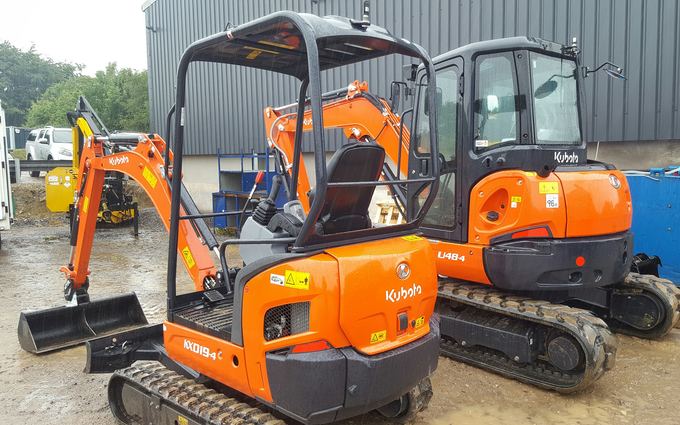 Sw machinery hire ltd with Mini digger at Lacock, Chippenham