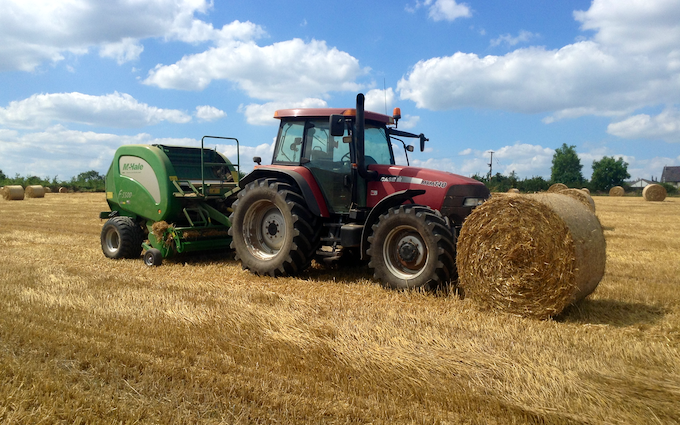 Ejw & me griffiths with Round baler at Crossgates