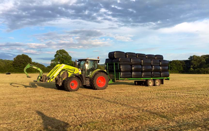 Tovey agri contracting  with Wrapper at West Harptree