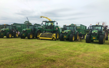 Mike dowling contracting with Forage harvester at United Kingdom