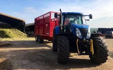 Scott walton contracting  with Silage/grain trailer at United Kingdom