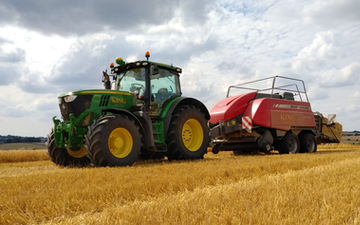 King agriculture with Large square baler at Kings Head Lane