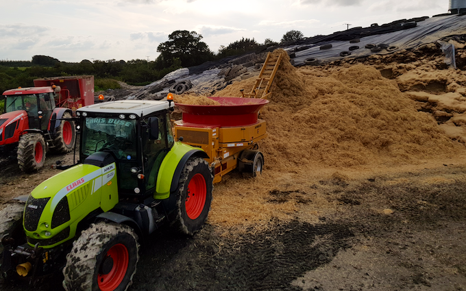 Chris buse contracting with Bale processor at Middlecott