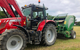 S & t vodden with Round baler at Shafton