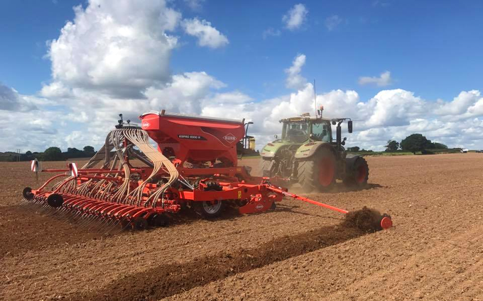 Russell price farm services with Drill at Castle Frome