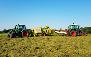 Barnsfold hire with Round baler at Marple