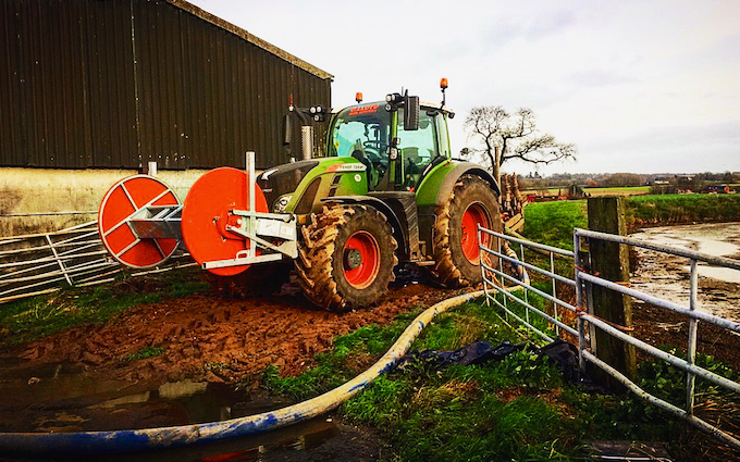 Adam taylor umbilical slurry services with Slurry spreader/injector at Wellington Road
