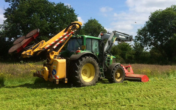 Bennett's contracting with Verge/flail Mower at United Kingdom