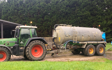 Grassland farm services with Slurry spreader/injector at Greenland Lane