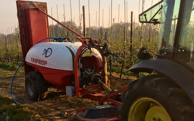 Tjf services.  with Orchard sprayer at Maidstone