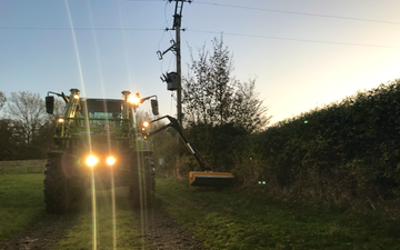 Peascliff contracting  with Hedge cutter at Barkston