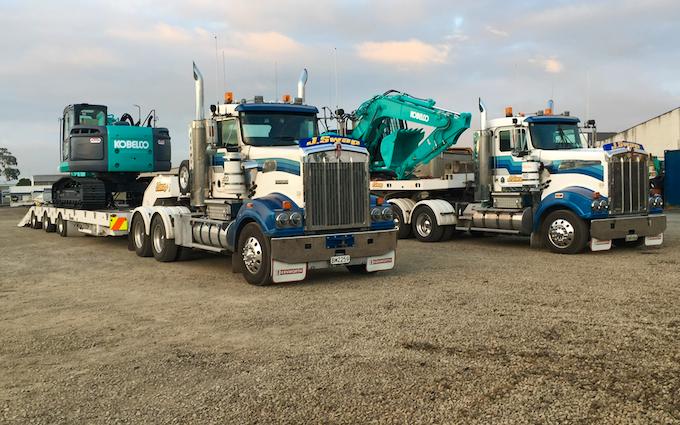 J swap contractors ltd with Low loader at Matamata