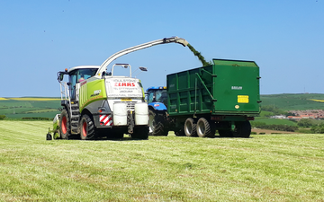 P.r, j.m & s.r houlston agricultural contractors with Forage harvester at Glaisdale
