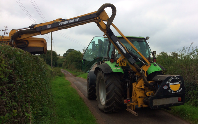 Ross's hedge cutting services  with Hedge cutter at Milverton