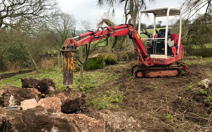 Jb plant  with Mini digger at Okehampton