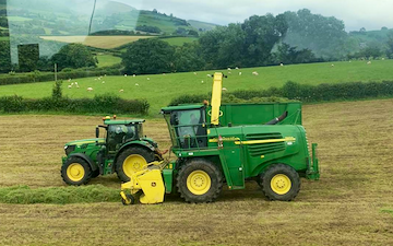 K m bray agri & plant contractor  with Forage harvester at Talgarth
