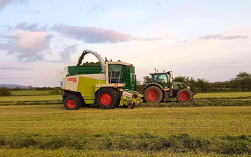 Jon sealey & sons ltd  with Forage harvester at Tarnock