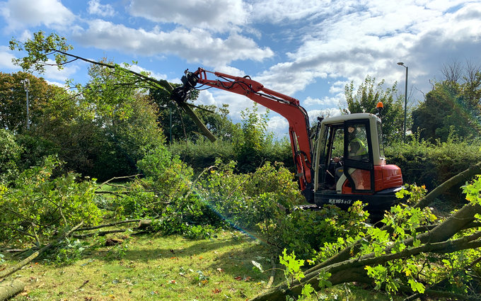 Arbgear ltd with Forestry harvester at Cookhill
