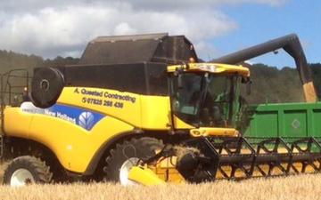 A quested with Combine harvester at Tillington Road