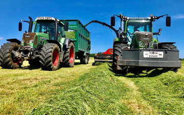 Stuart m ranby agriculture  with Forage harvester at Saundby