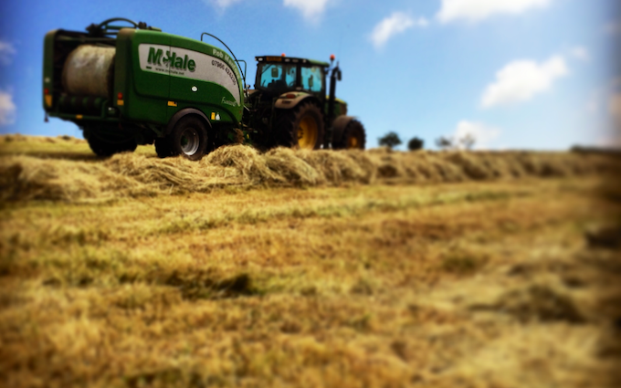 Manford farm contractors  with Baler wrapper combination at Oswestry
