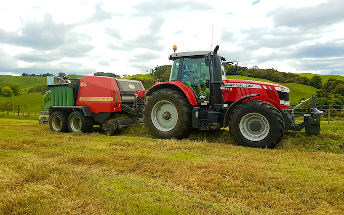 Klaus ag with Round baler at Okauia