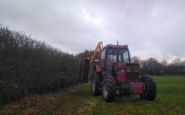 Vale agri  with Hedge cutter at United Kingdom