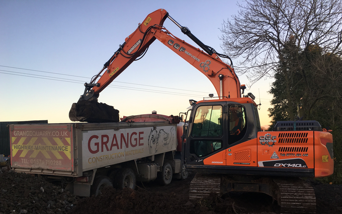 C.g.f services  with Excavator at Canonbie