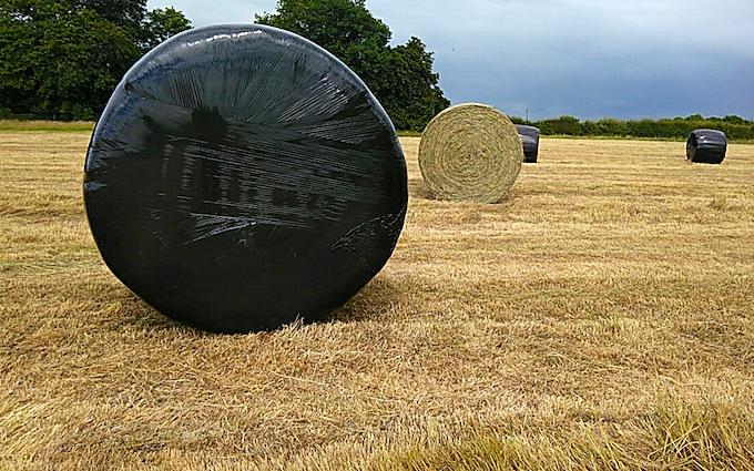 Hadfieldsmith @ sons with Round baler at Barkestone