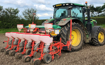 Manford farm contractors  with Precision drill at Oswestry
