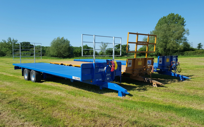 Sw machinery hire ltd with Flat trailer at Lacock, Chippenham