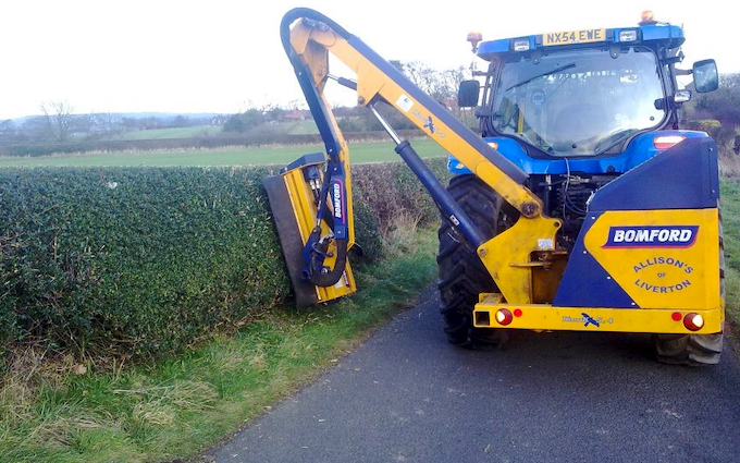 Allison's of liverton with Hedge cutter at Liverton