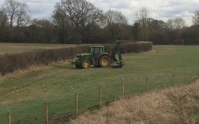 Perry contracting  with Hedge cutter at Clatterford End