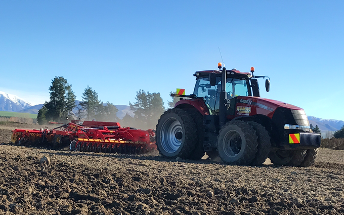 Kamac contracting with Disc harrow at Ashburton