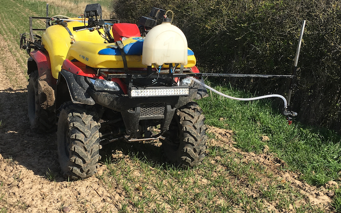 Eds agricultural contracting  with ATV sprayer at Belton