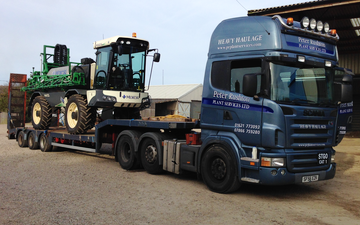 Peter rushton plant services ltd with Low loader at North End