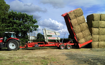 Norfolk straw products ltd with Bale chaser at United Kingdom
