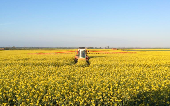 Shaw's agricultural contractors with Self-propelled sprayer at Billinghay