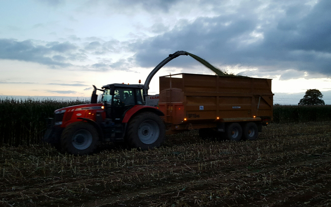 Sw machinery hire ltd with Silage/grain trailer at Lacock, Chippenham