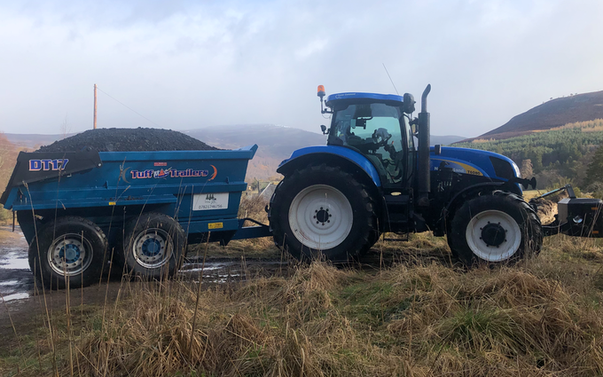 Wee jim landscapes with Tipping trailer at United Kingdom