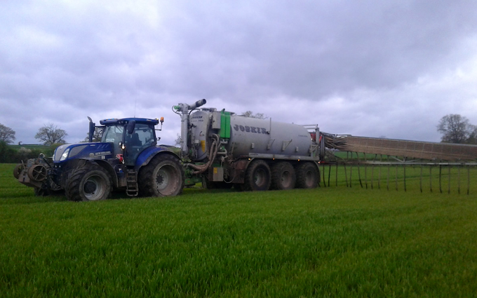 Jw and pm edwards and son  with Slurry spreader/injector at Cardeston