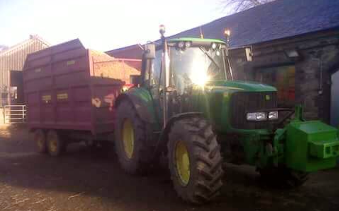 B & aj elson with Silage/grain trailer at Thringstone