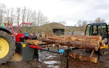 Wee jim landscapes with Log splitter at United Kingdom
