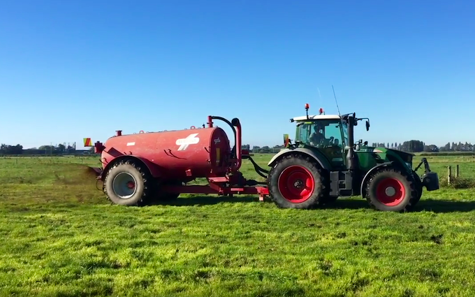 Bleeker ag services with Slurry spreader/injector at Otaio